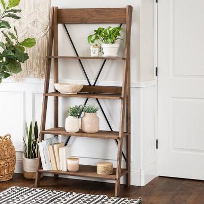 Ivy Boho 4 Tier Solid Wood Ladder Bookshelf - Saracina Home : Target
