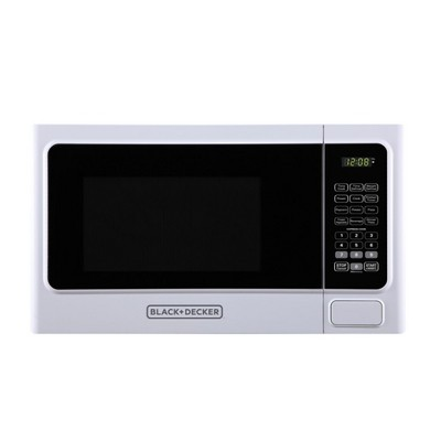 Black+Decker 1000 Watt 1.1 Cubic Feet Countertop Table Kitchen Home Dorm Compact Microwave Oven, White
