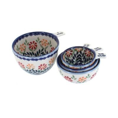 Blue Rose Polish Pottery Garden Bouquet Measuring Cup Set