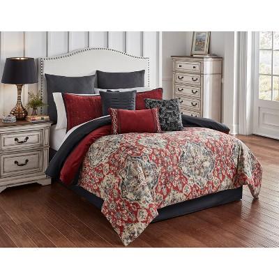 Riverbrook Home Queen Sadler 9pc Comforter & Sham Set Red/Gray