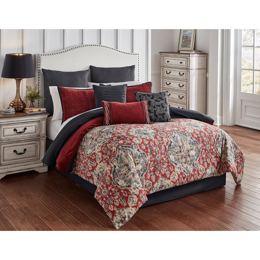 Riverbrook Home Queen Sadler 9pc Comforter & Sham Set Red/Gray, Red Gray