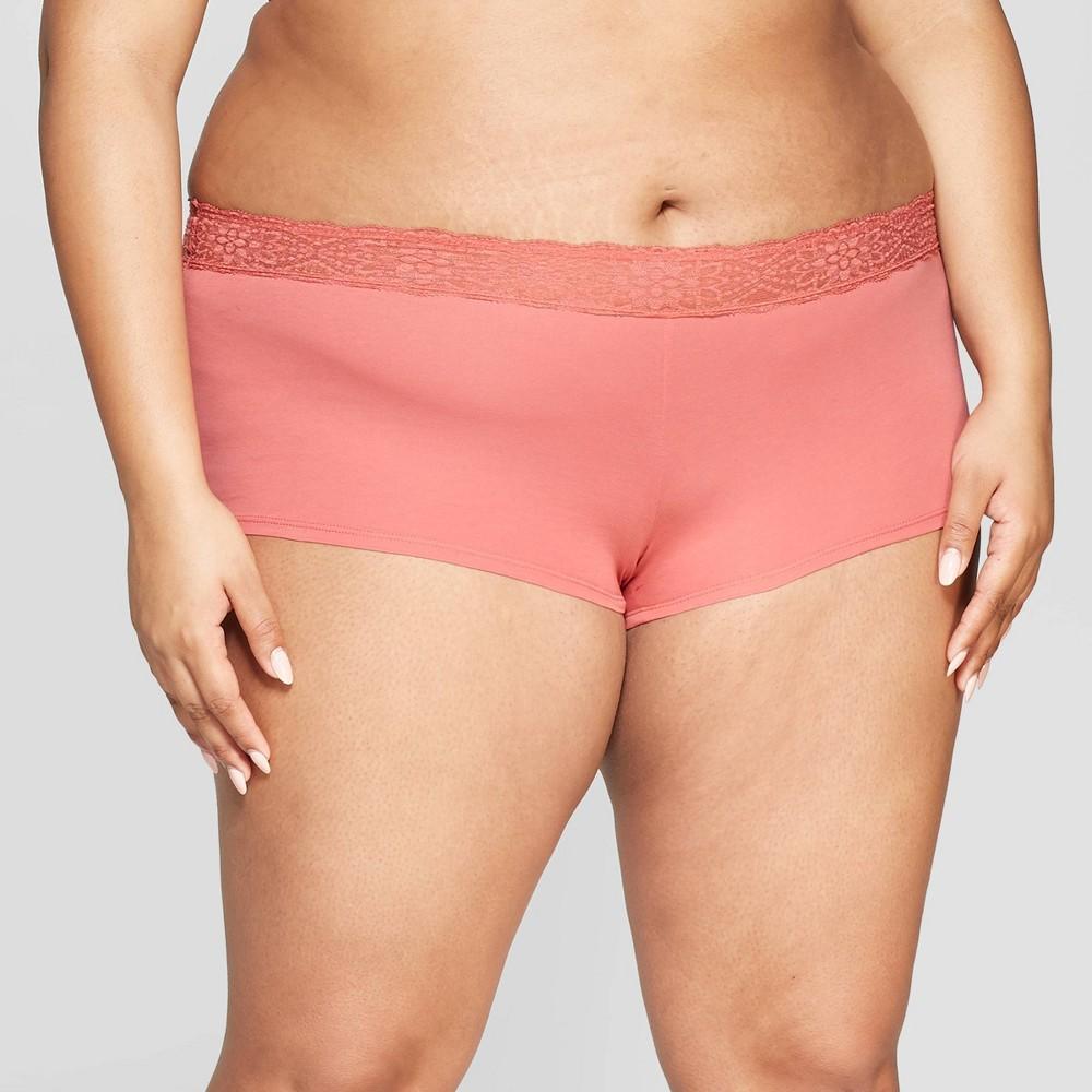 Women's Plus Size Cotton Boyshort with Lace Waistband - Auden Faded Rose 3X