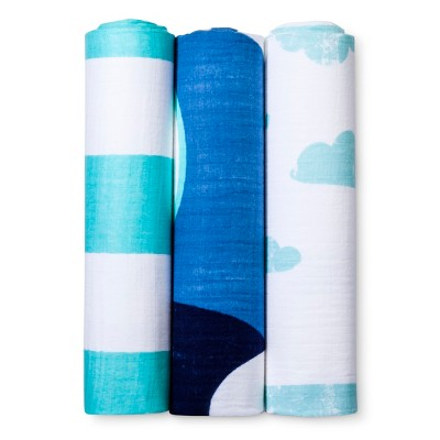 Muslin Swaddle Blankets Hello World 3pk - Cloud Island™ - Blue