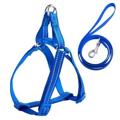 No Pull Nylon Dog Cat Harness & Leash Set Reflective Adjustable, Blue