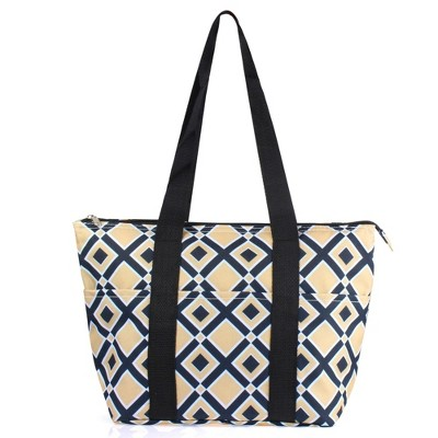 Zodaca Large Insulated Lunch Cooler Picnic Trave Work Bag Tote Carry Bag - Khaki Black Times Square
