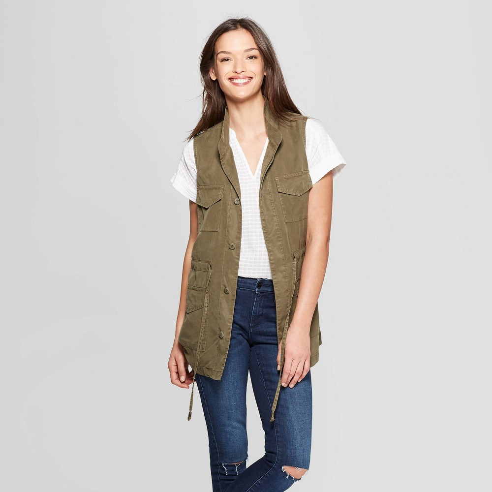 Women's Utility Military Jacket - Universal Thread Olive L, Green