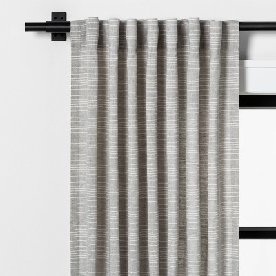 "84"" Fine Stripe Curtain Gray / Sour Cream - Hearth & Hand™ with Magnolia"