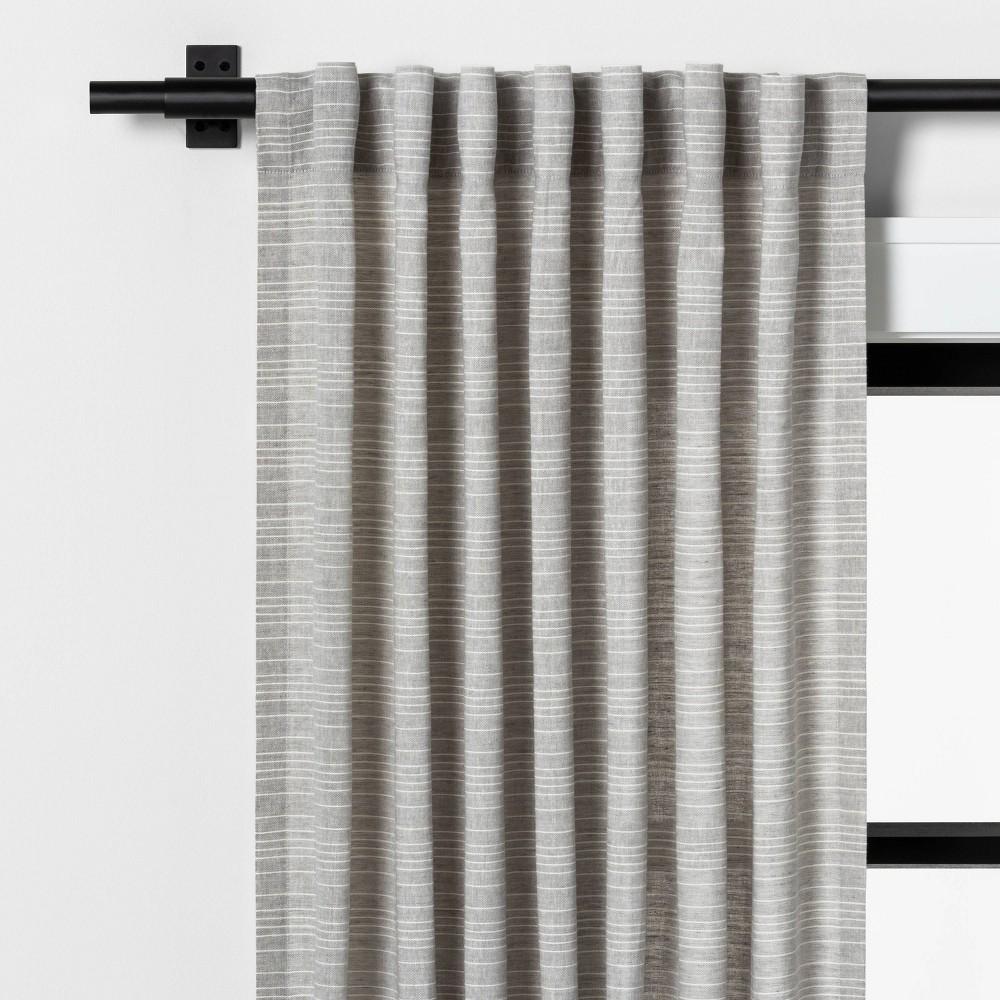 """Image of """"108"""""""" Fine Stripe Curtain Gray / Sour Cream - Hearth & Hand with Magnolia"""""""