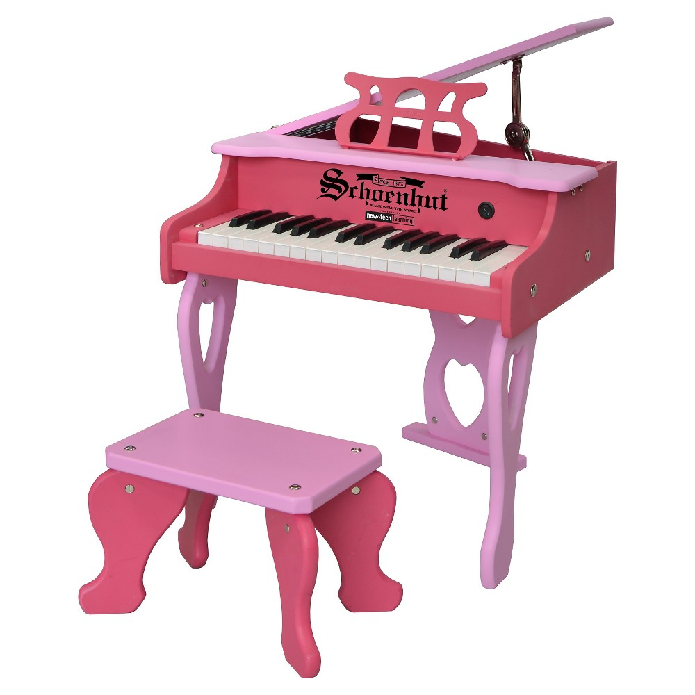 Schoenhut 30-Key Two Tone Digital Baby Grand Piano & Bench - Pink