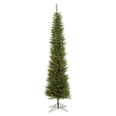 6.5ft Pre-Lit Slim LED Artificial Christmas Tree Durham Green Pole - White Lights