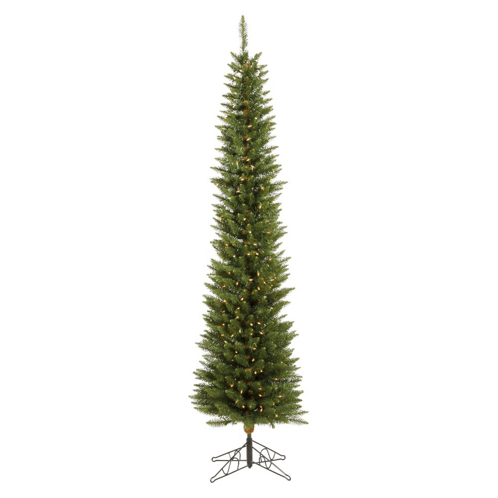 6.5ft Pre-Lit Slim Led Artificial Christmas Tree Durham Green Pole - White Lights