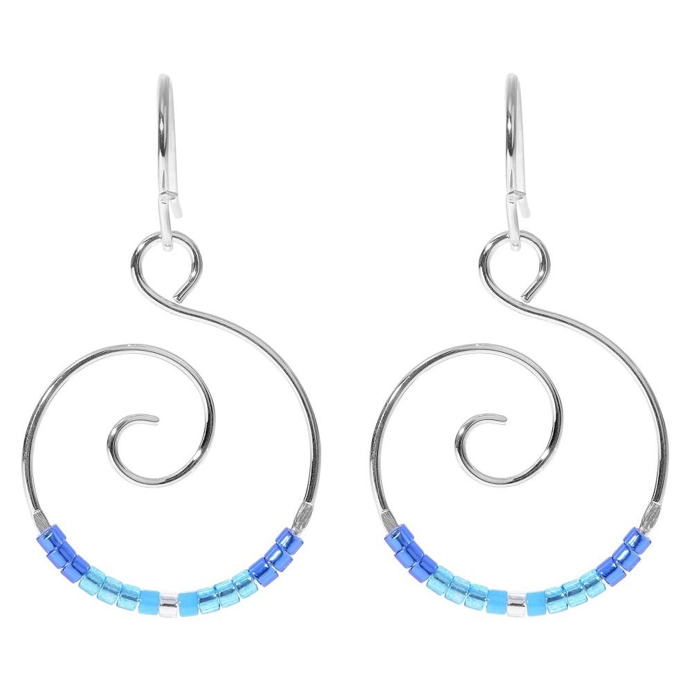 Women's Journee Collection Handmade Heishi Bead Dangle Earrings in Sterling Silver - Blue