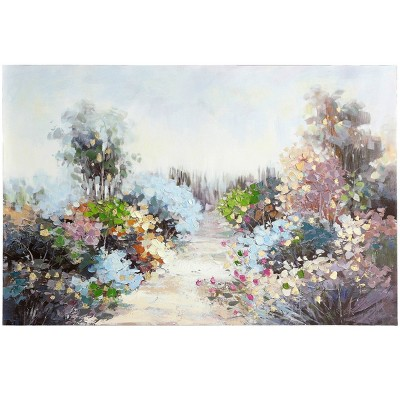 Pastel Wildflower Pathway Hand Painted on Stretched Unframed Wall Canvas - StyleCraft