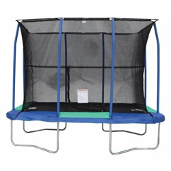 JumpKing 7 x 10 Foot Rectangular Galvanized Trampoline with Padded Enclosure