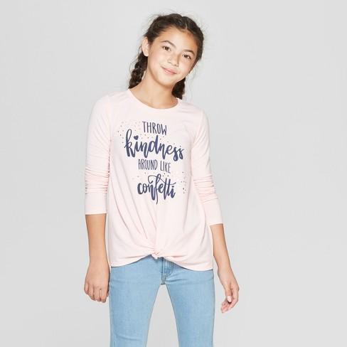 45aaab722 Girls' Twist Front Long Sleeve T-Shirt - Art Class™ Light Brown XS ...
