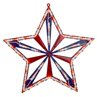 """Northlight 14"""" Lighted Red White and Blue 4th of July Star Window Silhouette Decoration"""