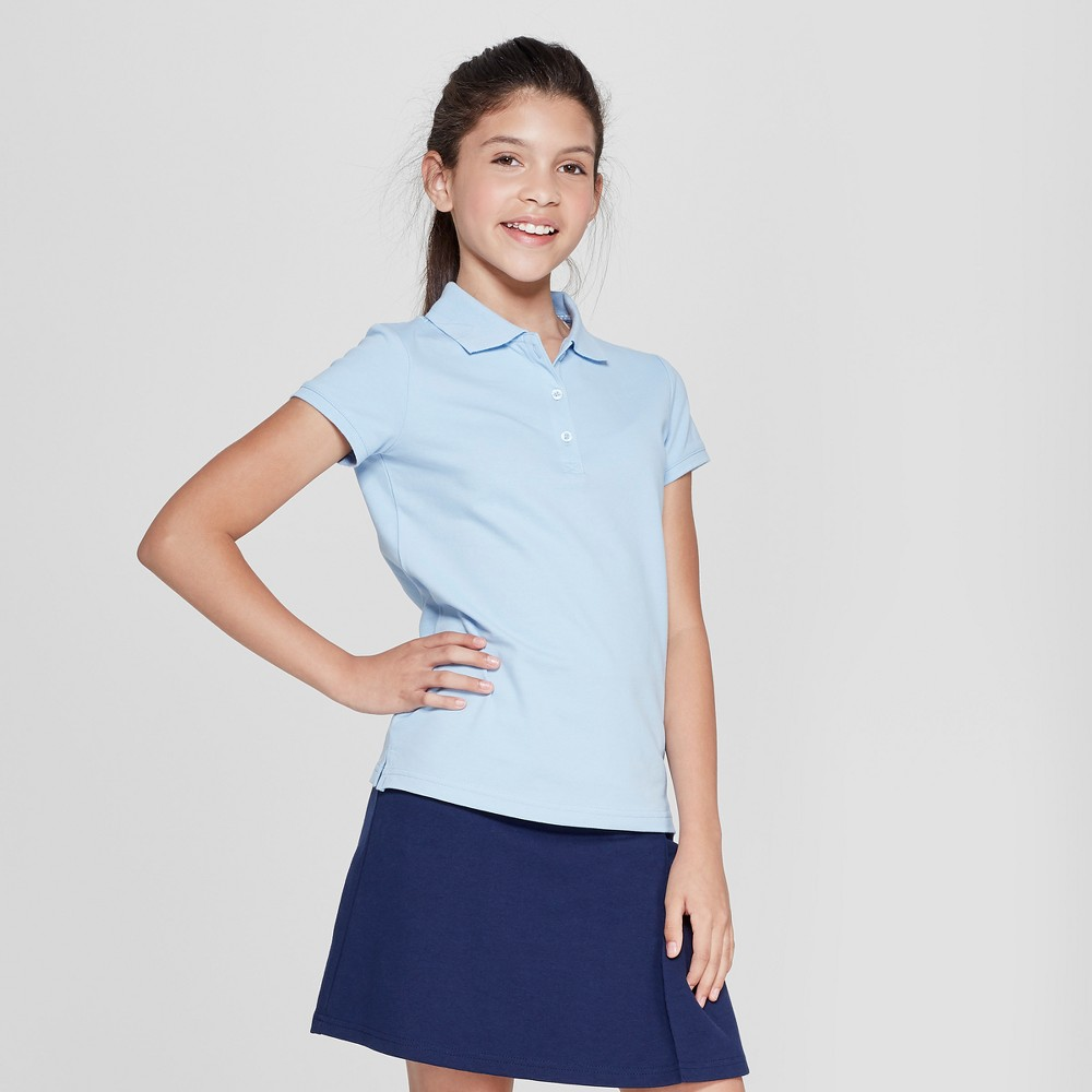 Girls' Short Sleeve Pique Polo Shirt - Cat & Jack Light Blue Xxl