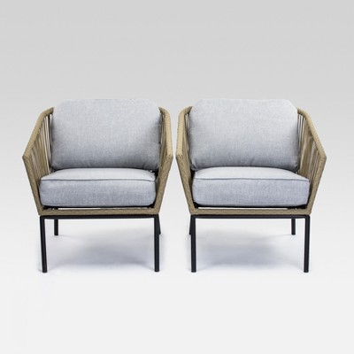 Standish 2pc Patio Club Chair - Natural with Gray Cushions - Project 62™