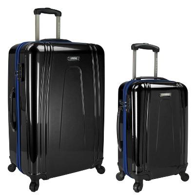 U.S. Traveler 2pc USB Port EZ-Charge Luggage Set - Black