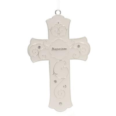 "Religious 7.0"" Baptism Cross Enameled Stones  -  Decorative Wall Sculptures"