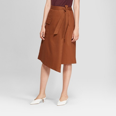 Women's Asymmetrical Wrap Skirt - Prologue™ Brown - image 1 of 3