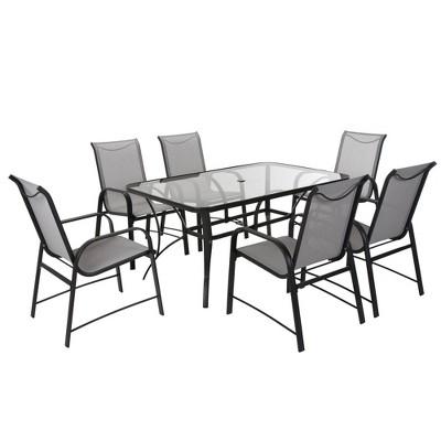 Cosco 7pc Paloma Steel Patio Dining Set - Light Gray/Dark Gray