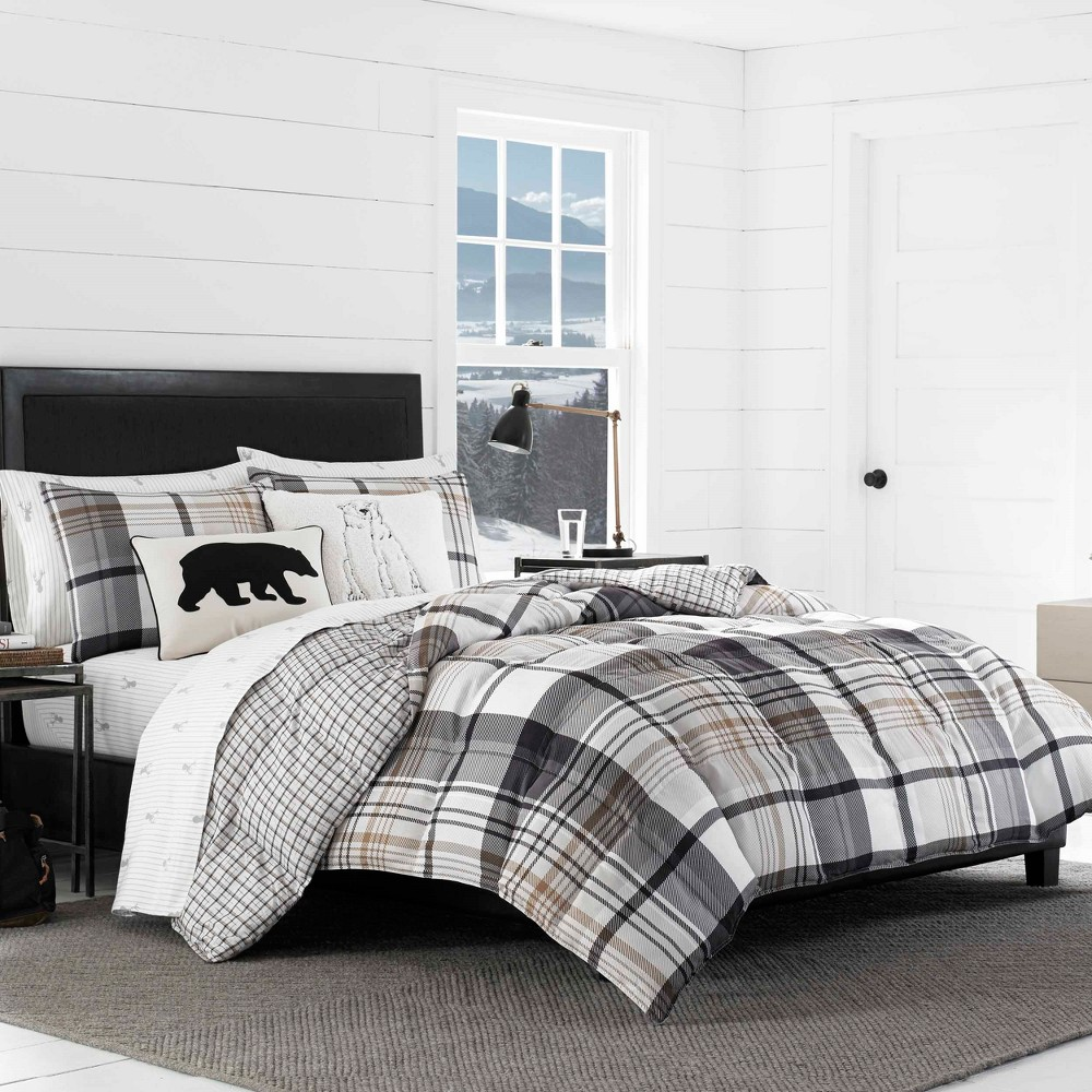 Image of Black Plaid Normandy Comforter Set (Full/Queen) - Eddie Bauer, Blue