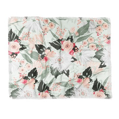 "60""X50"" Iveta Abolina Carmella Crème Throw Blanket Green - Deny Designs"