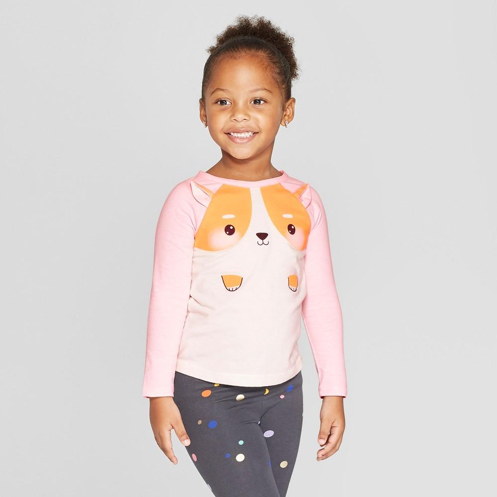 Toddler Girls' Long Sleeve Critter T-Shirt - Cat & Jack Cream/Pink 5T, White