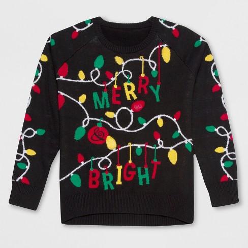 Well Worn Girls Merry Bright Christmas Light Up Sweater Black