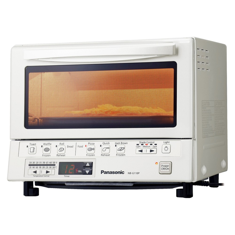 Panasonic NB-G110P FlashXpress Toaster Oven, White Toast, bake, brown and reheat up to 40 percent faster than conventional toaster ovens with the double-infrared power of the Panasonic NB-G110 FlashXpress Toaster Oven. With FlashXpress you never preheat. The push of a button generates instant, super-efficient heat from quartz and ceramic elements for thoroughly cooked food, inside and out. Color: White.