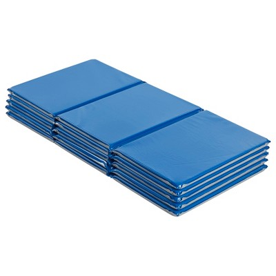 """ECR4Kids Value 3-Fold Daycare Rest Mat, Folding Nap Time Mat, 1"""" Thick, Blue and Grey, 5-Pack"""