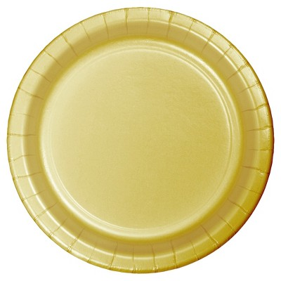 """7"""" Round 60ct Disposable Snack Plate Gold - Spritz™"""