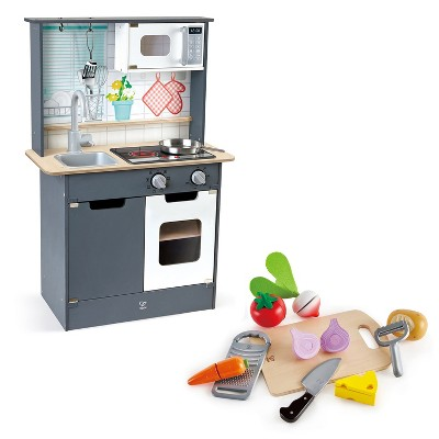 Hape Interactive Kids Childrens Wooden Pretend Play Kitchen Toy Set Bundle with Play Food and Cooking Accessories, Ages 3 and Up