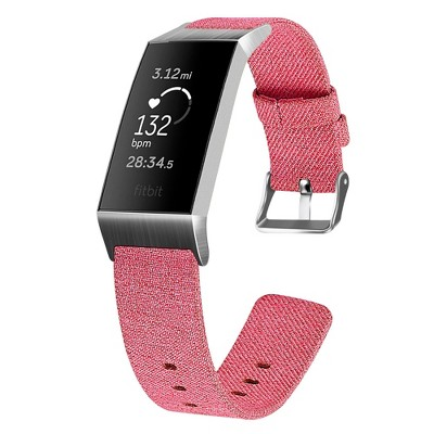 Insten Canvas Fabric Band for Fitbit Charge 4 & Charge 3 & Charge SE, Replacement Strap, Rose Red