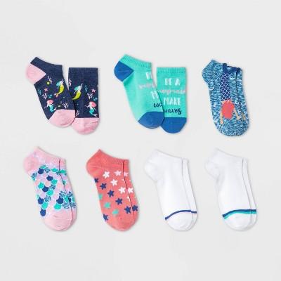 Girls' 7pk Mermaid No Show Socks - Cat & Jack™ Navy