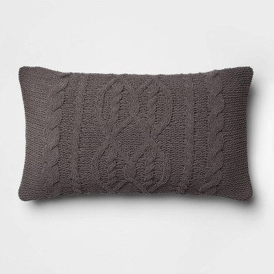 Cable Knit Chenille Oversize Lumbar Throw Pillow Gray - Threshold™
