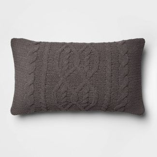 Cable Knit Chenille Oversize Lumbar Pillow Gray - Threshold™