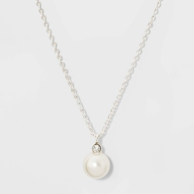 Glass Necklace - A New Day™ Pearl Silver