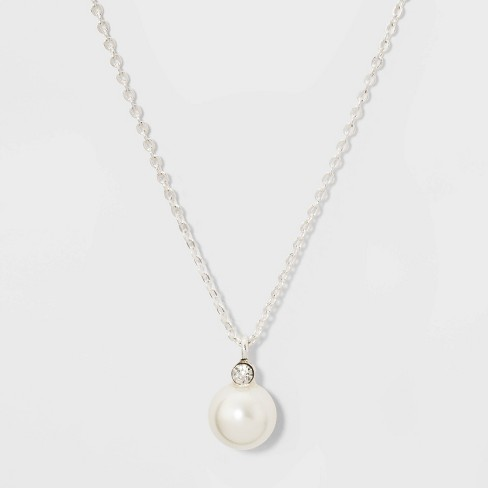 Glass Necklace - A New Day™ Pearl Silver - image 1 of 2