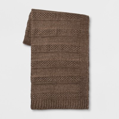 60 x50  Marled Knit Throw Blanket Brown - Threshold™