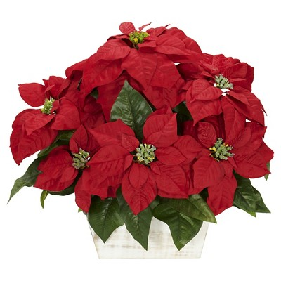 Poinsettia with White Wash Planter Silk Arrangement - Nearly Natural
