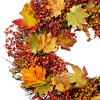 Northlight Maple Leaf and Berry Twig Artificial Wreath, Orange 22-Inch - image 3 of 3