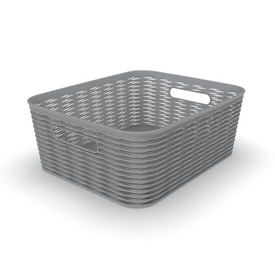 11L Medium Wave Design Storage Bin Gray - Room Essentials™