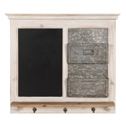 "28"" x 25"" Idamae Wood Framed Chalkboard Wall Organizer White - Kate and Laurel - image 1 of 4"
