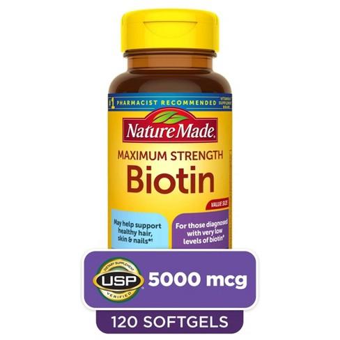 Nature Made Maximum Strength Biotin 5000 mcg Softgels - 120ct - image 1 of 4