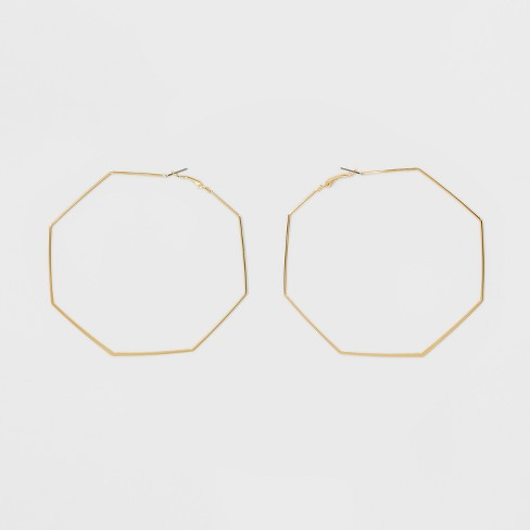 Open Octagon Hoop Earrings - Gold - image 1 of 2