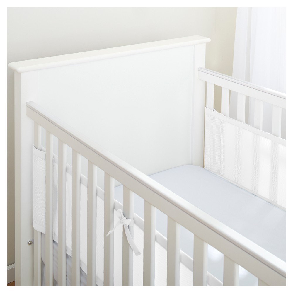 Image of BreathableBaby Mesh Crib Liner for Solid End Cribs - White