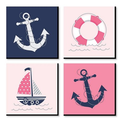 Big Dot of Happiness Ahoy - Nautical Girl - Kids Room, Nursery Decor and Home Decor - 11 x 11 inches Kids Wall Art - Set of 4 Prints