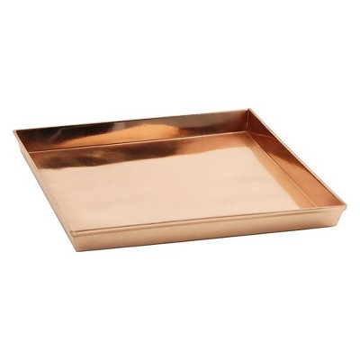 """10.75"""" Decorative Square Stainless Steel Tray Copper Plated Finish - ACHLA Designs"""
